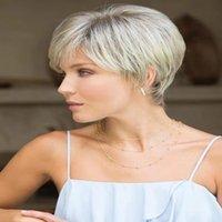 ingrosso parrucche bionde in vendita-2019 Euro-American Hot bionda di vendita e capelli sintetici onda corta corpo bruno mixcolor moda parrucche naturale per le donne bianche