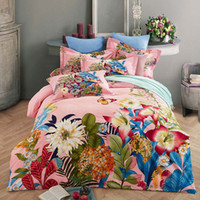 Wholesale black white burgundy bedding for sale - Bed Set D Satin Cotton Duvet Cover Sets Bohemian butterfly bird floral peacock Print Bedsheet Pillowcase Adult Double Bed King Size