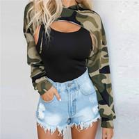ausschnitt ärmel pullover groihandel-Frauen Tarnung Hoodies T-Shirt Sexy Ausschnitt Hohle Bauch Kordelzug Langarm-Pullover Pullover Frauenoberteile