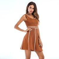 ingrosso beauty mini dresses-European Station Abbigliamento donna Estate New Sweet Beauty Garment Gonna, collo circolare e abbottonatura colorata
