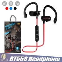 Wholesale headphone wireless noise cancelling mic resale online - RT558 Bluetooth Headphones Wireless Earphone Headsets Noise Cancelling Sweatproof Sport Earphones with Mic Jogging Ear Hook Headsets in Box