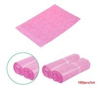poly geschenk taschen großhandel-100 teile / los Rosa Poly PE Mailer Express Bag 38 * 52 cm Mail Taschen liebe herz Umschlag Selbstsiegel plastiktüten für schmuck mädchen geschenk taschen