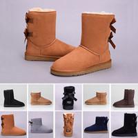 botas de zapatos de cuero de las niñas al por mayor-UGG BOOTS de la rodilla de alta calidad baratos de WGG Bowtie mujeres de Australia Negro Café castaño grisáceo Botas de nieve de la muchacha de las mujeres azul marino rojo US 5-10