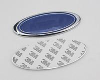 capas de carros venda por atacado-Novo 15 cm * 6 cm logotipo azul capô dianteiro do carro emblema emblema Tronco traseiro para Kuga Fuga Ecosport Fiesta Monde