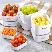 weiße lunchboxen großhandel-Weiß Multi Größe Bento Box Obst Frische Halten Mittagessen Fall Kunststoff Abendessen Eimer Versiegelt Tragbare Rutschfeste Heißer Verkauf 7