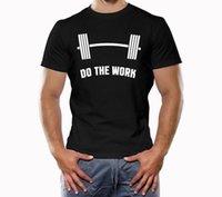 camisetas rosa crossfit al por mayor-Camisa de musculación, Músculo, Crossfit, Camisa de entrenamiento, Do The Work, gorra rosa