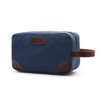 портативный кнопочный органайзер оптовых-Men Male Casual Canvas Solid Cosmetic Bag Portable Small  Wash Bags Accessories Organizer Bags With Strap Key Pouch Holder