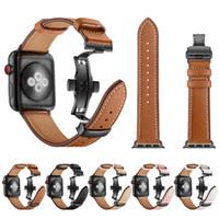 lederband schmetterling schnalle großhandel-Echtes Rindsleder Armband für Apple Watch 38mm 40mm 42mm 44mm Schmetterling Schnalle Armband Band für Apple Iwatch Armband Series1234