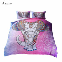 ingrosso copertura comforter rosa regina-Boho Pink Elephant stampato Queen Set consolatore letti matrimoniali King Twin Size Luxury 3d letto lenzuola copripiumini Set Home Textiles