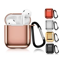 Wholesale white gold keychain for sale - Group buy For Airpods Case with Hook Clasp Keychain Anti Lost Headphones Apple Airpod Earphone Electroplated TPU Cover Protector with Retail Box