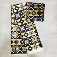 ingrosso cortile in chiffon di seta-Tessuto di seta imitato cera africana 2019 tessuto di raso 4 yarde ankara audel / cotone modell per vestito + 2 yarde chiffon LP30