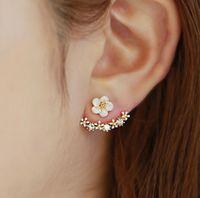ohrjacken schmuck großhandel-Shell Blume Ohr Jacke Ohrstecker S925 Silber Post Chic Schmuck für Mädchen Korean Fashion Design