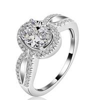 мосянита белого золота 14 тыс. оптовых-Изысканные США GIA сертифицированы 1 карат муассанит обручальные кольца из 18-каратного белого золота имитируют бриллиантовые кольца для женщин, твердое кольцо из белого золота Бесплатная доставка
