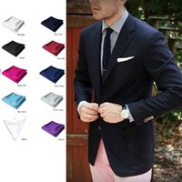 Wholesale New Fashion PC Men Formal Silk Satin Pocket Square Hankerchief Hanky Plain Solid Color Wedding Party accessories colors