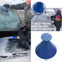 kar temizleme kazıyıcılar toptan satış-Oto Araba Sihirli Cam Bir Yuvarlak Araba Kazımak Buz Kazıyıcı Koni Cam Silecek Şekilli Huni Kar Temizleme Temizleme Fırçası aracı