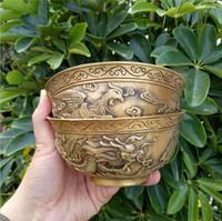 messing kupfer schüsseln großhandel-Versorgung Kupfer Ornamente Antik Messing Nafu Longfeng Schüssel Kupfer Schüssel Messing Dragon und Phoenix Schüssel Großhandel