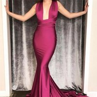 Wholesale vintage mermaid style prom dresses resale online - Cheap Arabic Burgundy Evening Dresses New Sexy Mermaid Convertible Mixed Styles Sleeveless Sweep Train Formal Party Dress Prom Gowns