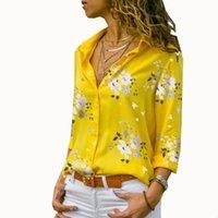 yaz şifon bluz artı boyutu toptan satış-Kadın Üstleri Bluzlar 2019 Yaz Zarif Uzun Kollu Baskı V Yaka Şifon Bluz Kadın Iş Elbisesi Gömlek Artı Boyutu 5XL Yaka Blusa