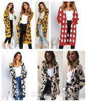 cardigans de lana roja al por mayor-Mujer Ropa de invierno Leopardo Cardigan de longitud larga cálidos suéteres de lana Red Christmas Deer Warm Cardigan envío gratis