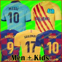 uzun kollu futbol formaları toptan satış-FC futbol forması 19 20 4th ANSU FATI 2019 2020 Messi GRIEZMANN DE JONG camiseta futbol gömlek erkekler + çocuklar kiti üniforma uzun kollu