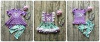 lavande bleu bébé achat en gros de-Pâques Bébé Filles Lavender Bunny Outfits Bleu Floral Enfants Vêtements Capris Robe Courte Ruffle Boutique Match Accessoires Enfants Y190518