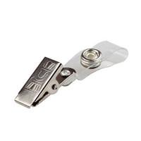 id abzeichen inhaber pvc großhandel-Badge Clip-ID-Karte Zertifikatsinhaber Kunststoff PVC-Bügel-Metallclip mit 2 Löchern Abzeichen-Namensschild PVC Lanyard Clip FFA1948-1