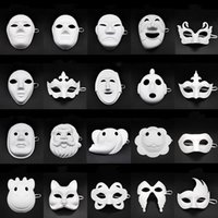 Wholesale painting masking paper resale online - Papper DIY Party Mask Creative Painting Halloween Chirstmas Party Mask Children Women Men DIY Half Face Full Face Masks HHA666