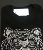 ingrosso maglione nero tigre-Maglione ricamato testa di tigre uomo donna manica lunga di alta qualità pullover O-collo Felpe con cappuccio maglione migliore qualità nero rosa S-XXL