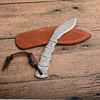 Wholesale full tang fixed blade resale online - New Dog Leg Shape Small Damascus Fixed Blade Knife Damascus Steel Blade Full Tang Handle Knives With Leather Sheath