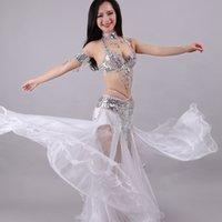 trajes de dança do ventre sutiã venda por atacado-Moda Mulheres Costumes Dança do Ventre Define frisada Ladies Modern Dancing Stage Desempenho 5 peça sutiã e saia Suits