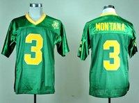 joe montana maillots de football achat en gros de-Hommes 1977 Vintage Joe Montana College Football Jersey vert # 3 Joe Montana Cousu Football Shirts 30 Patch