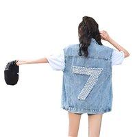 denim colete jeans mulheres venda por atacado-Rlyaeiz Primavera Curto Denim Colete das mulheres 2019 Moda Verão Buraco de Volta Beading Cowboy Coletes Sem Mangas Jeans Jaquetas Coletes