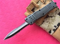 Wholesale survival technologies for sale – custom Technology D A Combat AUTO Knives mini size A161 C steel blade Checkered pattern Survival gear Tactical knife P90Q