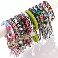 armband trends leder großhandel-Fashion Trend Große PU-Leder-Armband Quaste Keychain Leopard Schmuck-Qualitäts-Armband-Armband-Armband-Charme-Anhänger M170Y