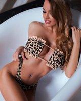 ingrosso cinturino in bikini-PLAVKY 2019 Lady Sexy Solid senza spalline Bandeau Biquini Cut Swim Wear Costume da bagno Costume da bagno perizoma Costumi da bagno Donna Vita alta Bikini