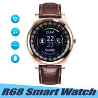 muñequeras de cuero al por mayor-R68 Reloj inteligente Hombres de pulsera de cuero Deporte al aire libre Smartwatch Rastreador de sueño Recordatorio de llamadas Relojes Soporte Tarjeta SIM Tarjeta TF para Android IOS