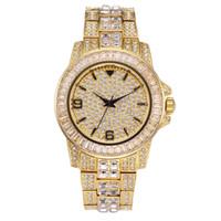 relógios suíços venda por atacado-Relógio Masculino Vestidos de luxo New Exquisite Moda Marca High End Diamante Set Face Com quartzo impermeável Mens Diamond Watch coreano