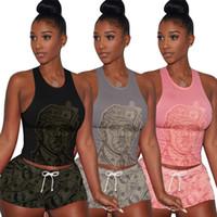 Wholesale women s pink tank top resale online - Women Greenback print Tracksuit Outfits Camisole tank vest sleeveless Tee Tops Shorts Piece Outfit Sportswear Sleeveless Set LJJA2499