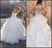 Wholesale plunging neck back line wedding dress for sale - Group buy 2020 New Stunning Lace Wedding Dresses Pearls Sheer Plunging Neck A Line Lace up Back Sweep Train Tulle Tiered Bridal Gowns