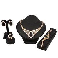 свадебные наборы из танзанита оптовых-Свадебное платье ювелирные изделия комплект для женщин красный черный белый ожерелье серьги набор цепочка подарок бесплатная доставка