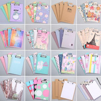 Wholesale cute stationery folder for sale - Group buy cute office paper clipboards A4 cartons designs writing drawing pads boards clip folder boards stationery school office supplies