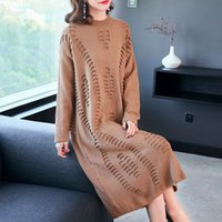 frauen lavendel kleid großhandel-Strickkleid Herbst und Winter New langärmeligen Pullover in langen Punkt lose Frauen Plus Size Pullover Lavendel Gelb