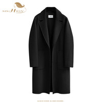 ingrosso semplice cappotto lungo donna-SISHION 5XL Plus Size Cappotti Donna Lungo Solido Tasche stile semplice Morbide miscele di lana QY0324 Cappotti diritti petto coperto donna