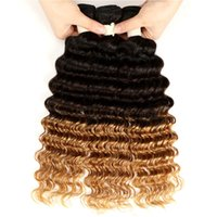 Wholesale curl blonde human hair for sale - Group buy 3 Tone Ombre Deep Curly Human Hair Bundles Ombre Brazilian Deep Wave Weave Deep Curls Hair