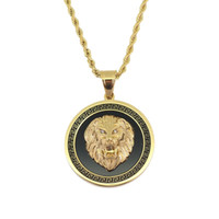Wholesale lion chain necklace for men resale online - hip hop lion head round pendant necklaces for men western animal luxury necklace Stainless steel Cuban chains dog tag jewelry