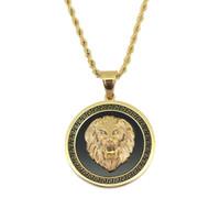 chaînes de lion d'hommes achat en gros de-hip hop tête de lion ronde pendentif colliers pour hommes western animal luxe collier en acier inoxydable chaînes cubaines étiquette de chien bijoux livraison gratuite