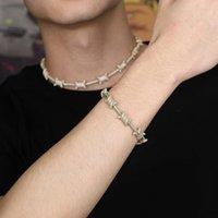 pulsera para hombre 14k al por mayor-fuera helado pulsera de cadena de los hombres de lujo hombre del diseñador ciega diamantes cubanos pulseras de cadenas chapados en oro 14k circones de cobre joyería de plata de oro