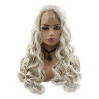 perruques avant en dentelle blanche achat en gros de-Nouvelle Mode 28 pouces Longue Bouclés Lace Front Perruques Perruques Synthétiques Couleur Blanche pour les Femmes Partie Midddle
