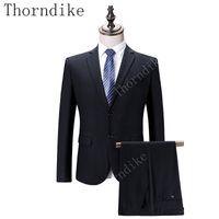iş için resmi blazerler toptan satış-Thorndike Erkekler Siyah Iki Düğme Suit Erkek Blazers Slim Fit Suit Balo Kostüm Iş Resmi Parti Iş Elbisesi Kalın Suits 2 Parça