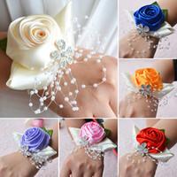 mor çiçek bilek toptan satış-Düğün Bilek Corsages Gelin Nedime El Çiçekler Tiffany Kraliyet Mavi Mor Parti Düğün Balo Kadınlar Corsages